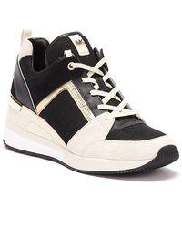 Michael Kors Georgie Canvas And Suede Womens Black / Cream Sneakers
