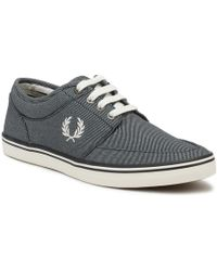 Fred Perry - Mens Navy Stratford Printed Canvas Trainers - Lyst