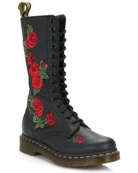 Dr. Martens - Dr. Martens Vonda Womens Black Leather Embroidered Rose Mid Calf Boots - Lyst