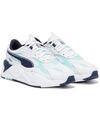 PUMA Rs-x3 Hard Drive / Light Blue / Navy Sneakers - White