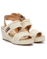 Tommy Hilfiger Tommy Fringes Womens Ivory Wedge Sandals - White