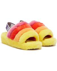 UGG Fluff Yeah Pride Stripes Pantoufles Jaunes Pour