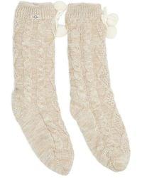 UGG Crew Pom Pom Fleece Lined Socks - Natural