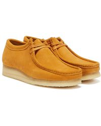 Clarks Wallabee Suede Chaussures Jaunes Pour