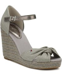 3bea4fc9cbe57 Tommy Hilfiger - Womens Light Grey Metallic Elena Wedge Sandals Women s  Sandals In Grey - Lyst