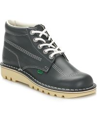 Kickers Mens Kick Hi Core Navy/natural Leather Boots - Blue