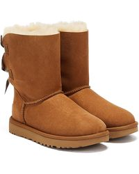 UGG Womens Chestnut Bailey Bow Ii Sheepskin Boots - Brown