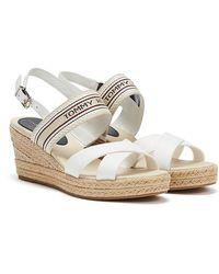 Tommy Hilfiger Artisanal Mid Wedge Ecru Sandals - White