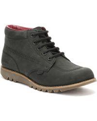 Kickers - Womens Black Leather Kick Hi Boots - Lyst