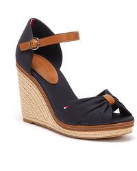 Tommy Hilfiger Iconic Elena Womens Navy Wedge Sandals - Blue