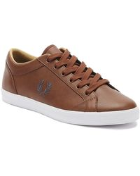 Fred Perry Baseline Leather Sneakers In Tan - Brown