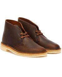Clarks Desert Leather Braune Stiefel