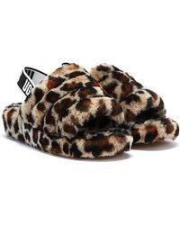UGG Sandales en peau de mouton imprimée léopard - Marron