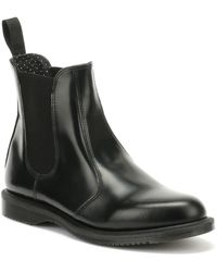 Dr. Martens Dr. Martens Flora Smooth Womens Black Leather Boots
