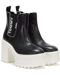 Tommy Hilfiger Chelsea Cleated Heel Womens Chelsea Boots In Black White - 7 Uk