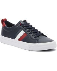 Tommy Hilfiger - Flag Detail Mens Midnight Leather Trainers - Lyst
