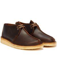 Clarks Desert Trek Leather Beeswax Shoes - Brown