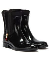 Tommy Hilfiger Corporate Zipper Rainboots - Black