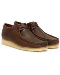 Clarks Wallabee Leather Chaussures Marron Pour