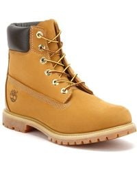 Timberland Womens Wheat Premium 6 Inch Nubuck Leather Boots - Brown