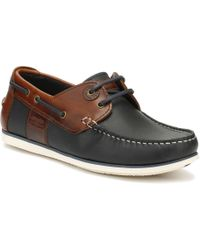 Barbour Mens Navy/brown Capstan Boat Shoes - Blue
