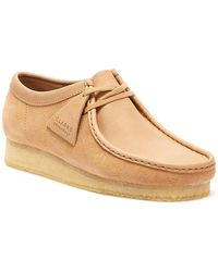 Clarks Wallabee Mens Light Tan Combi Shoes - Brown