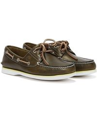 Timberland Classic Boat Full Grain Olive Shoes - Green