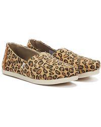 TOMS Classic Womens Leopard Print Espadrilles - Brown
