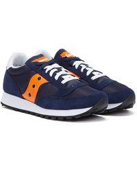 Saucony Jazz Vintage Mens Navy / Orange Trainers - Blue