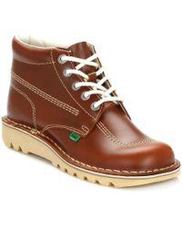 Kickers Kick Hi Tan Leather Boots - Brown