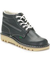 Kickers Mens Kick Hi Core Navy/natural Leather Boots - Blue