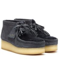 Clarks Wallabee Wedge Suede Dark Boots - Grey