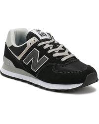 New Balance Womens Black / White 574 Classic Trainers