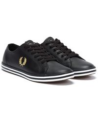 Fred Perry Kingston Leather Baskets Noir / Or Pour