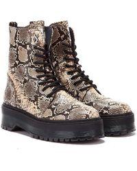 Bronx Rifka Snake Platform Boots - Natural