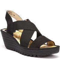 Fly London Yaji Womens Wedge Heel Sandals - Black