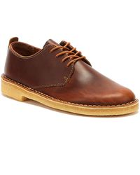Clarks Desert London Mens Tan Leather Shoes - Brown