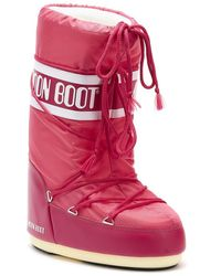 Moon Boot Classic Icon Womens Bougainvillea Nylon Boots - Pink