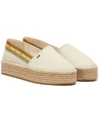 Tommy Hilfiger Tommy Jeans Repeat Logo Flatform Womens Cream Espadrilles - Natural
