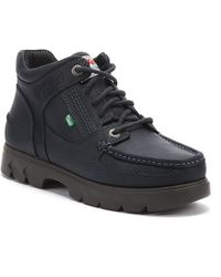 Kickers Lennon Mid Mens Navy Leather Boots - Blue