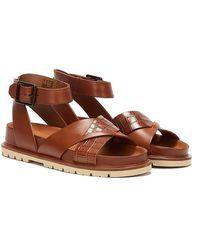 Clarks Orianna Cross Combi Leather Dark Sandals - Brown