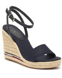 Tommy Hilfiger Elena Ribbon Womens Midnight Wedge Sandals - Blue