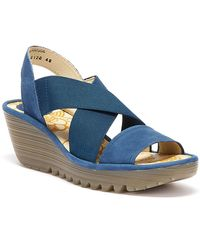 Fly London Yaji Women Blue Wedge Sandals