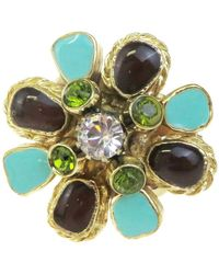 Chanel Cc Logos Rhinestone -tone #6.5 France 08p Ring - Metallic