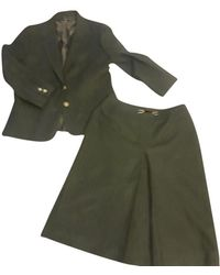 Céline Two Piece Wool Skirt Suit - Green