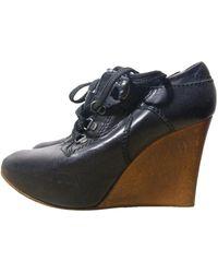 Chloé Leather Wooden Platform Heels 38 (us 8) Wedges - Black