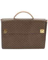 Céline Briefcase Leather Laptop Bag - Brown