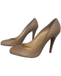 Christian Louboutin Classic Ron Ron 100mm Leather Round-toe Slip-on Court Shoes - Natural