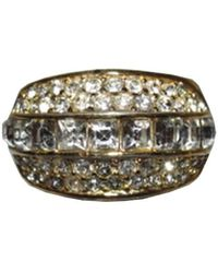 Dior Gold/clear Christian 18 Kt Plated Rhinestone Pave Ring - Metallic