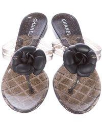 Chanel Black Gold Jelly Glitter Camellia Interlocking Cc Logo Slide Sandals